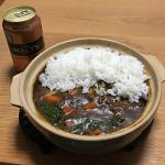 300円の 1人用土鍋で「こくまろカレー」のルーを使ったカレーライスがおいしく料理できました!