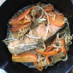 スキレットで鮭のちゃんちゃん焼き、やってみました